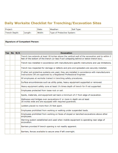 excavation daily worksite checklist