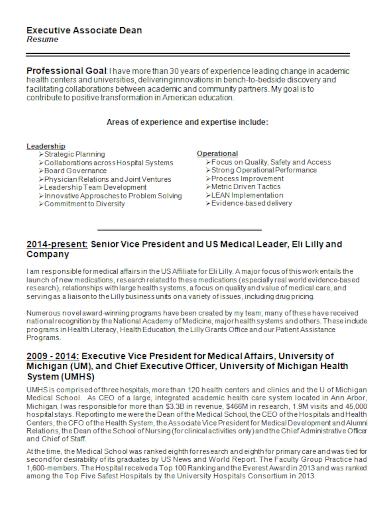 executive associate dean resume