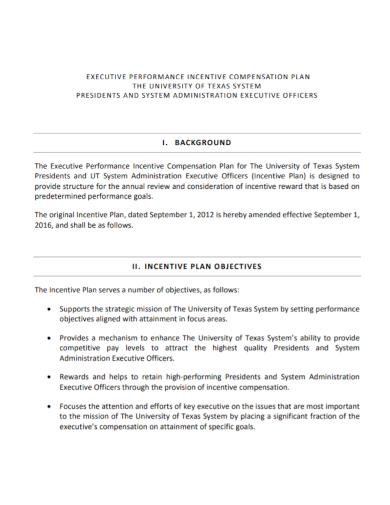 executive performance incentive compensation plan