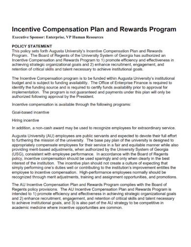 executive sponsor incentive compensation plan