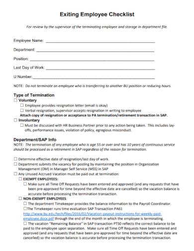 exiting employee checklist