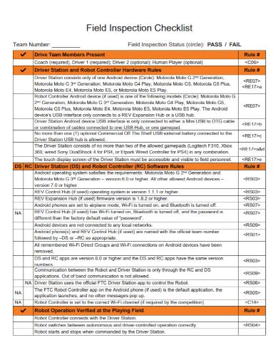 field inspection checklist
