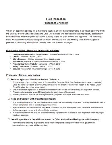 field inspection processor checklist