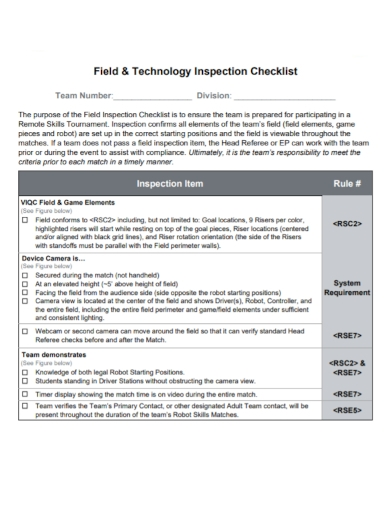 field technology inspection checklist