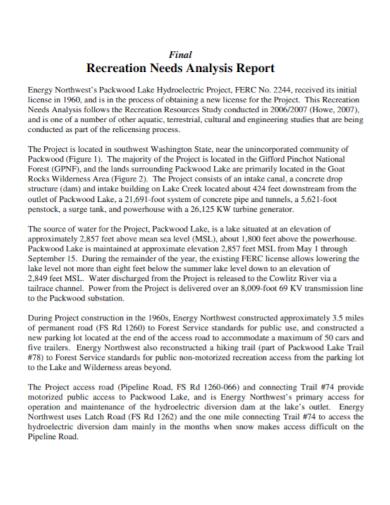 final recreation needs analysis report