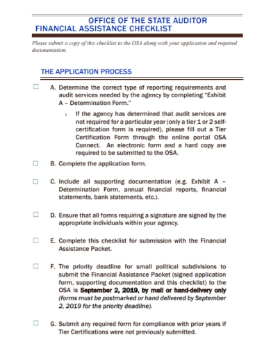 financial auditor assistance checklist