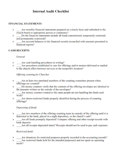 financial internal audit checklist