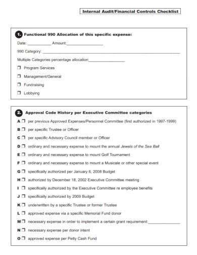 financial internal audit control checklist