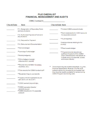 financial management audit checklist