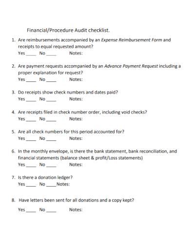 financial procedure audit checklist