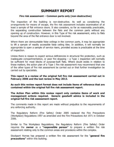 fire risk assessment summary report