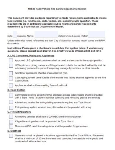 food vehicle safety inspection checklist