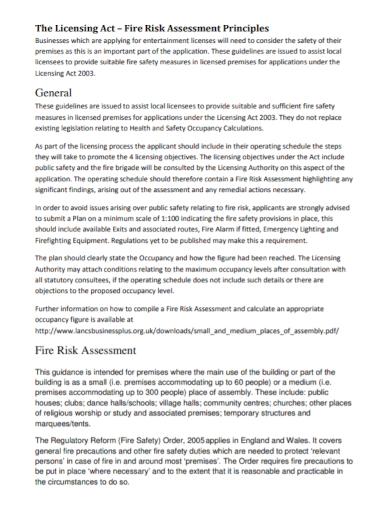 general fire risk assessment