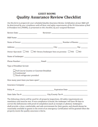 guest room quality review checklist