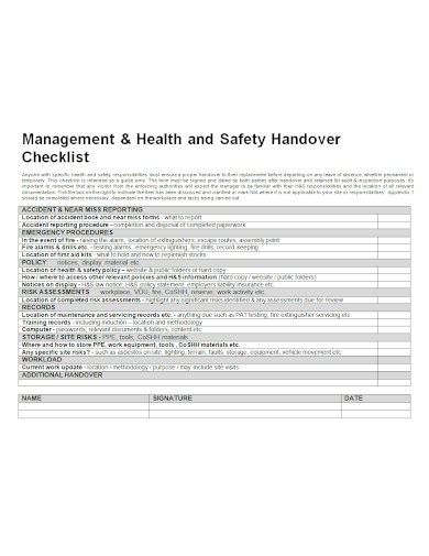 health and safety handover checklist