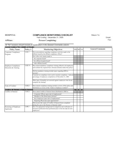 hospital compliance monitoring checklist