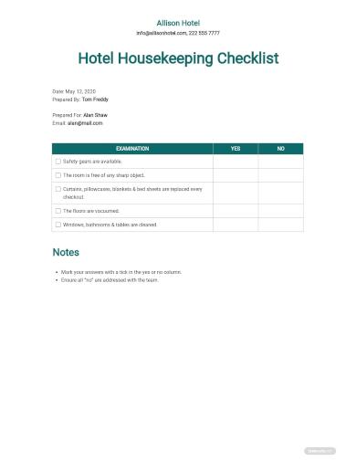 hotel housekeeping checklist template