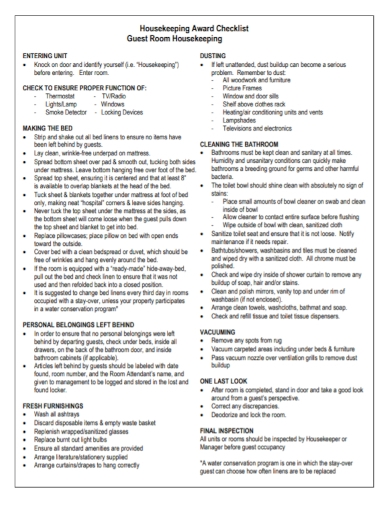 housekeeping award checklist