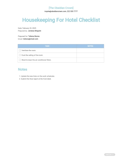 housekeeping checklist for hotel template
