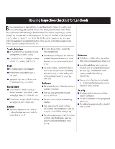 housing landlord inspection checklist
