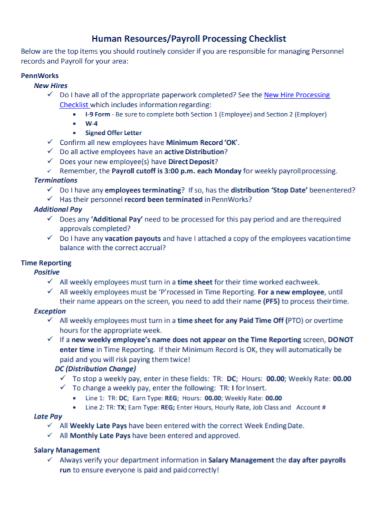 human resources payroll processing checklist