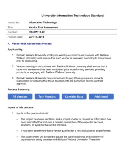 information technology vendor risk assessment