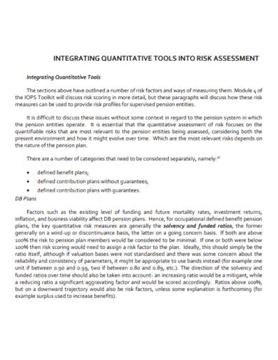 integrating quantitative risk assessment