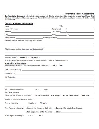 internship needs assessment