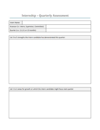 internship quarterly assessment