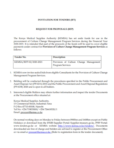 invitation for tender proposal