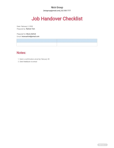 job handover checklist template