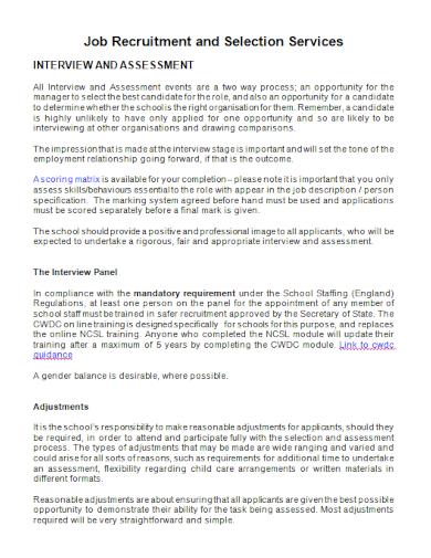 job recruitment interview assessment
