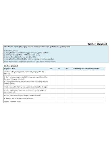 kitchen inspection item checklist