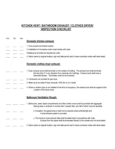 kitchen vent inspection checklist