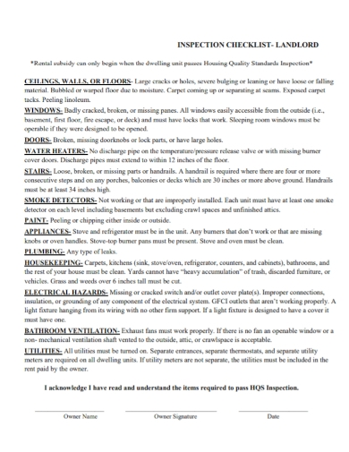 landlord inspection checklist
