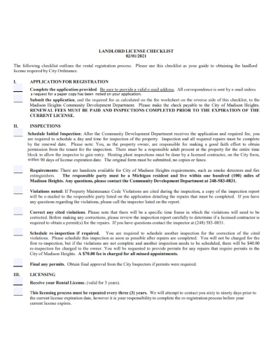 landlord license inspection checklist
