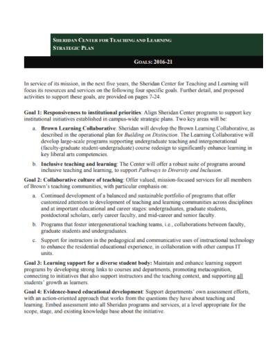 learning center strategic goals plan