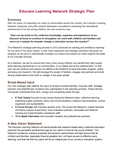 learning network strategic plan