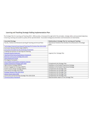 learning strategic implementation plan