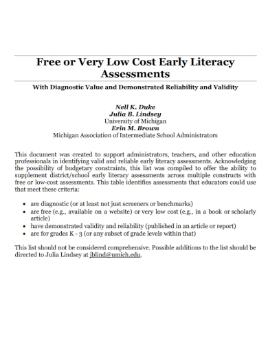 low cost early literacy assessment