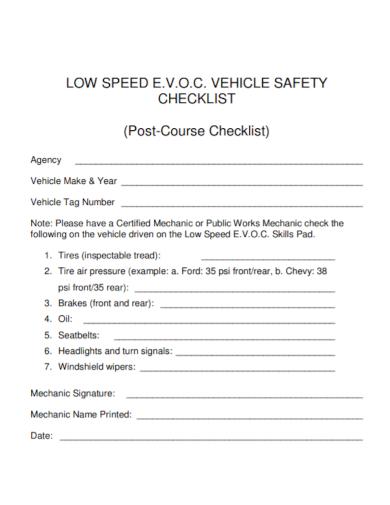 low speed vehicle safety checklist