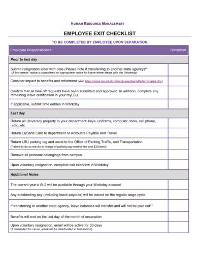 management employee exit checklist