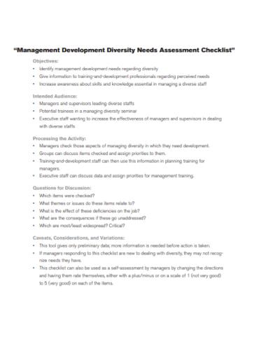 management needs assessment checklist