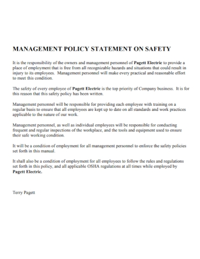 management policy statement of safety