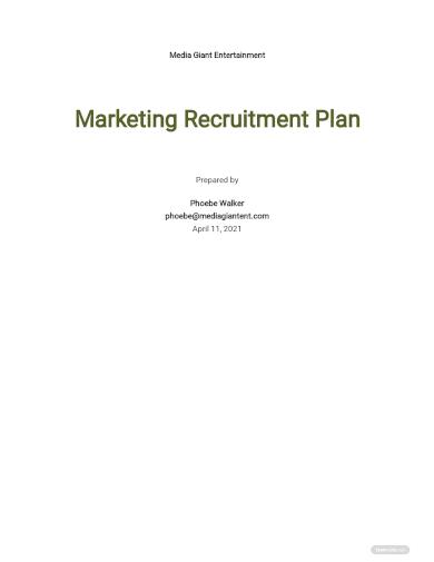 marketing recruitment plan template