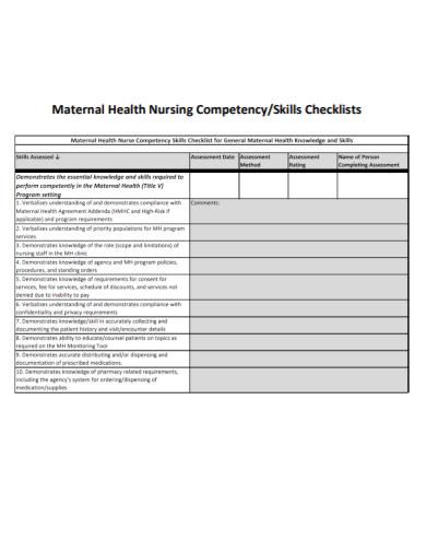 maternal health nursing skills checklist