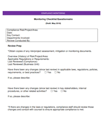 monitoring questionnaire checklist