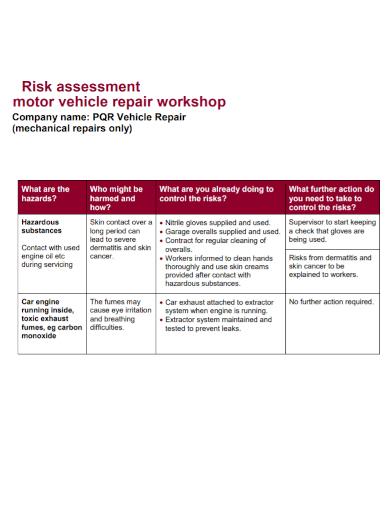 motor vehicle workshop risk assessment