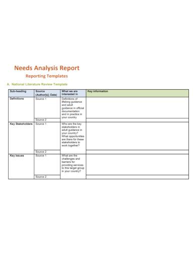 needs analysis report
