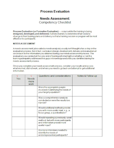needs assessment competency checklist